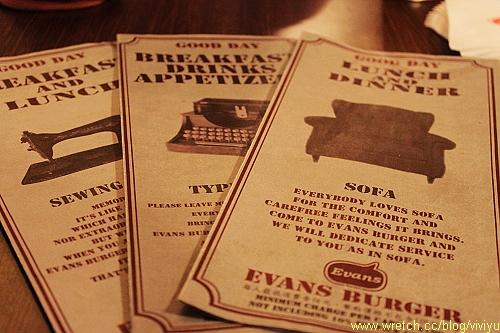evans menu