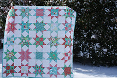 The Sheri Berry Christmas Star Quilt (interchangeableparts) Tags: winter snow newjersey december mercercounty sheriberrychristmas sawtoothstarquilt