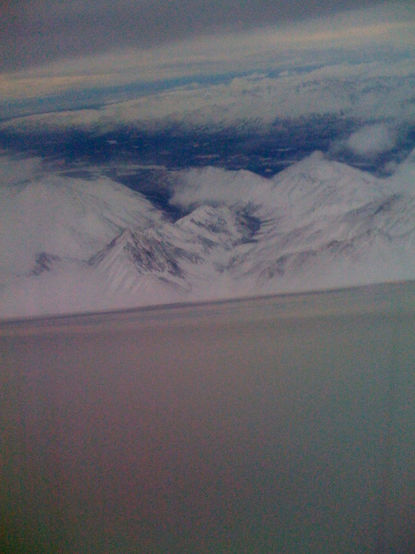 The view from the plane when flying into Anchorage