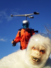 Air Adventurer Attacks Abominable Astronauty (8 Skeins of Danger) Tags: blue orange gijoe helmet yeti jetpack abominablesnowman adventureteam helipack astronaughty airadventurer 8skeinsofdanger
