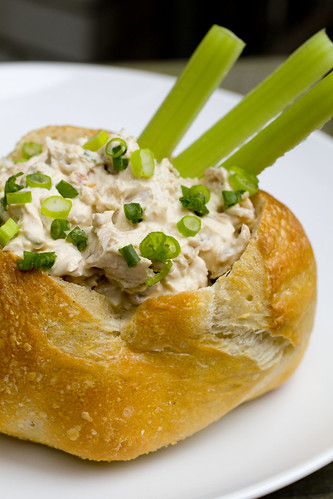 bacon clam dip in bread bowl