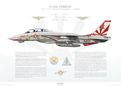 F-14A Tomcat VF-111 Sundowners, NL200 / 161621. CVW-15, USS Carl Vinson CVN-70 - 1989 F-14-014-A2 (www.deploymentproductions.com) Tags: art usmc illustration plane us artwork fighter force aircraft aviation air profile navy carl marines 1989 bomber usaf productions usn uss carrier sundowners deployment tomcat vinson f14a vf111 cvn70 161621 wwwdeploymentproductionscom nl200 cvw15