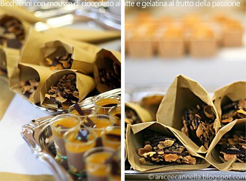 bicchierino con mousse di cioccolato al latte e gelatina al frutto della passione
