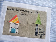 The back of the WigglyTiggly Doll Quilt (monaw2008) Tags: tree quilt handmade label fabric patchwork haouse monaw monaw2008 dqs8