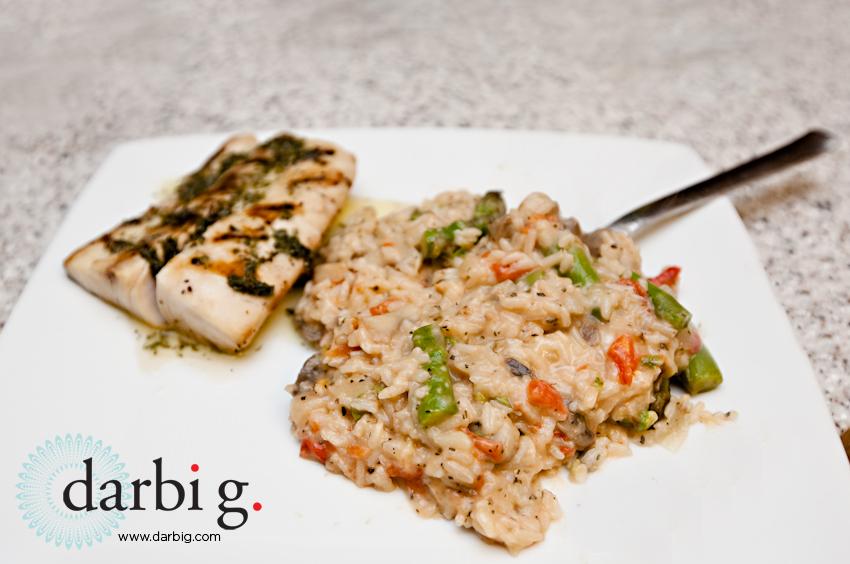 fresh veggie risotto basil buter salmon-3
