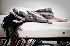 Lonely in your arms (coco_chanelle) Tags: light portrait girl vintage hair bed bedroom books furcoat dreamy vignette foxfur