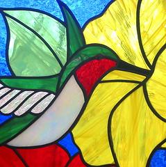 Hummingbird suncatcher-close up (livingglassart home of oddballs and oddities) Tags: greenleaves glass hummingbird panel stainedglass