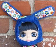 Cobalt blue Plushy Bunny Helmet