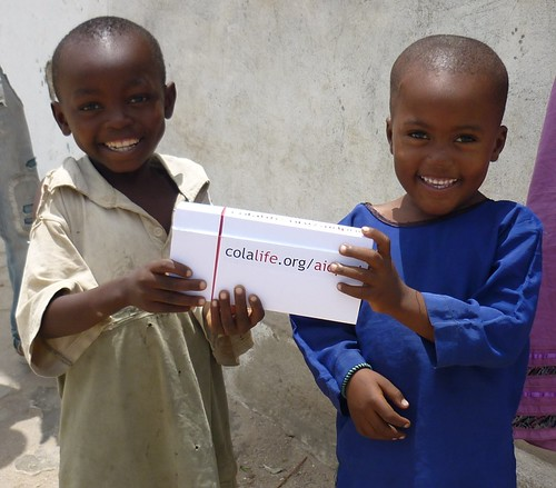 Children with AidPod in Tanzania