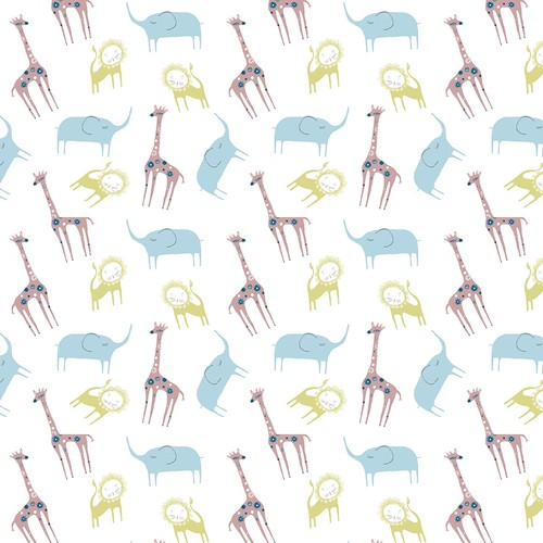 giraffe, lion & elephant pattern
