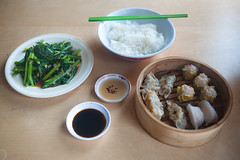 Lunch (TGKW) Tags: food green vegetables ginger basket rice sauce glasgow chinese plate bowl garlic soy choi dim sum steaming 1554