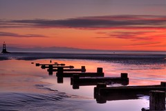 ... (gobayode photography...times) Tags: wood sunset nature liverpool reflections seascapes beachview crosbybeach groyns naturecolours boatlaunchpad disusedboatlaunch beachsafetymarkers sealandmarkers crosbymerseyseide