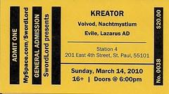 03/14/10 Kreator/Voi Vod/Nachtmystium/Evile/Lazarus A.D. @ St. Paul, MN (Ticket)
