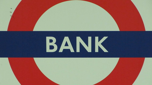 Bank underground station sign