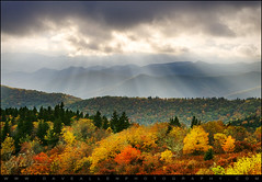 Blue Ridge Parkway Autumn Landscape - October Haze (Dave Allen Photography) Tags: blue autumn light sky mountains fall landscape outdoors nc nikon seasons asheville northcarolina fallfoliage foliage ridge parkway hendersonville rays sunrays dramaticsky blueridgemountains beams hdr highdynamicrange blueridgeparkway sunbeams hdri daveallen lightrays wnc d300 scenicdrive westernnorthcarolina edr ashevillenc leafchange superaplus aplusphoto platinumheartaward nikond300 daveallenphotography mygearandme mygearandmepremium mygearandmebronze mygearandmesilver mygearandmegold mygearandmeplatinum mygearandmediamond artistoftheyearlevel4 artistoftheyearlevel5
