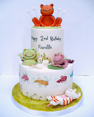Over in The Clover Cake (neviepiecakes) Tags: pond kitten frog birthdaycake vanilla tadpole fondant paintedcake