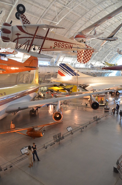 "Steven F. Udvar-Hazy Center: south hangar panorama, including Grumman G-22 ""Gulfhawk II"", Boeing 367-80 (707) Jet Transport, Air France Concorde among others"