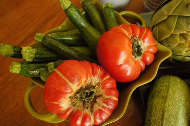 Heirloom tomatoes and zucchini