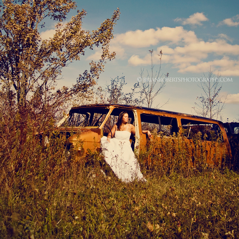 trash the dress. junkyard style.