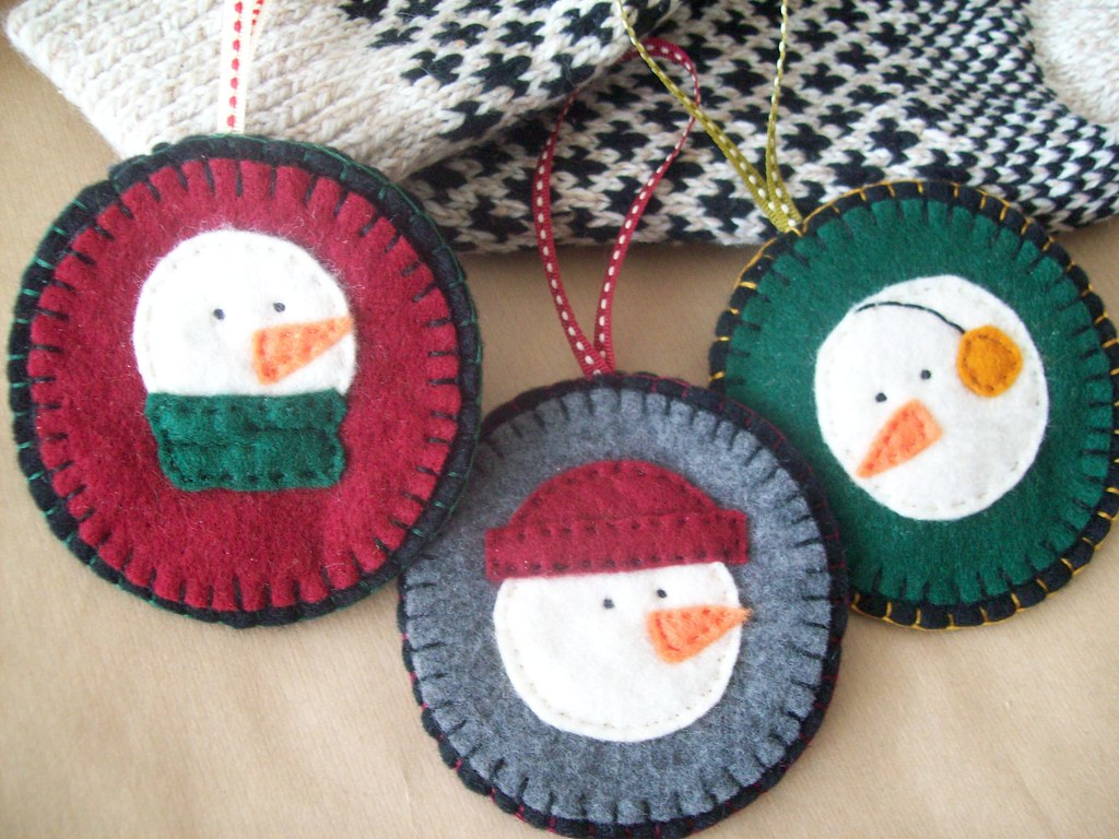 snowman ornament trio