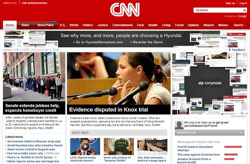 CNN.com home page on Nov. 4, 2009