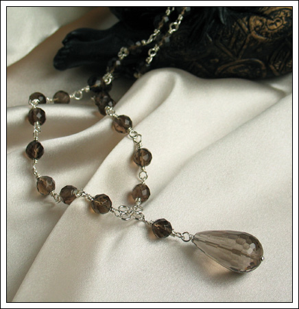 Gemstone & silver necklace