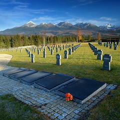 Military Cemetery ~ Vaec, Slovakia (Martin Sojka .. www.VisualEscap.es) Tags: morning blue autumn trees sky lake snow mountains fall nature colors cemetery landscape high vivid olympus german slovensko slovakia grad zuiko hitech tatry e30 tatras hory 1260 zd hightatras vysoketatry germanmilitarycemetery vaec 1260mm creativecommonscentral
