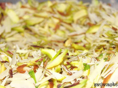 flaked almonds and pistachios
