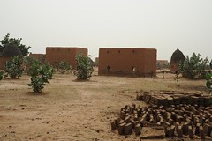 3b. Typical Mauritanian village, making bricks