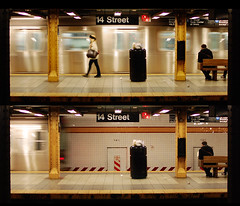 goodbye girl, goodbye train (scott w. h. young) Tags: street nyc newyorkcity people brown white black girl look yellow trash train bench underground subway diptych downtown walk manhattan watch platform tracks away read depart rush wait goodbye trashcan 14th across roam