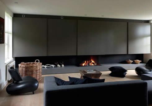 Fireplace in Modern Minimalist Living Room
