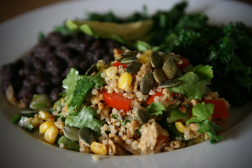 Quinoa with Avocado, Greens and Black Beans