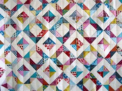{ geometric squares quilt } ({ philistine made }) Tags: quilt quilting jeweltones halfsquaretriangles winter2009 geometricsquaresquilt