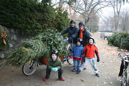 Christmas Tree Hauling by Bike-- Family Shot