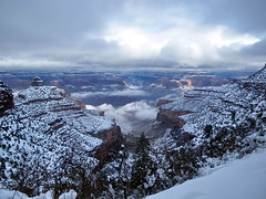 North Rim Clouds from Bright Angel Trail - Grand Canyon (Al_HikesAZ) Tags: park camping winter light arizona snow storm ice clouds nationalpark hiking grandcanyon grand canyon hike trail national backpacking backcountry southrim  grandcanyonnationalpark brightangeltrail brightangel grancaon gcnp  alhikesaz   gc2009 belowtherim