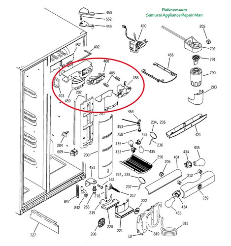 GE Profile PSS25 Fridge Breakdown Diagram with Damper Assembly Circled, click for larger view.
