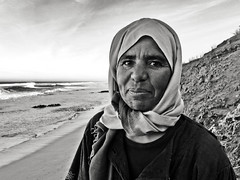 Beach Lady - Oulidia, Morocco (Adrian Campbell-Howard) Tags: beach hijab morocco marrakech oualidia
