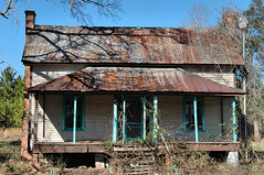 Ghosts of the Ogeechee (Brian Brown Photography/Vanishing Media) Tags: roof abandoned farmhouse rural ga georgia tin photo paint southern forgotten rusted vernacular trim frontporch dilapidated screendoor haintblue ogeechee screvencounty copyrightbrianbrown doublechimneys