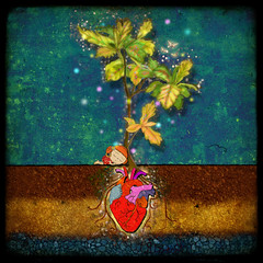 """even though i buried my heart, my love has blossomed"" (crosti) Tags: light plant love girl grave illustration fairytale forest dead happy bury missing waiting sad heart princess you sweet earth sleep leah christina magic dream grow roots chloe eros soil anatomy only burial wait bulbs mystical layers alive nothing watercolors asleep bizarre stardust enchanted fireflies tsevis crosti"