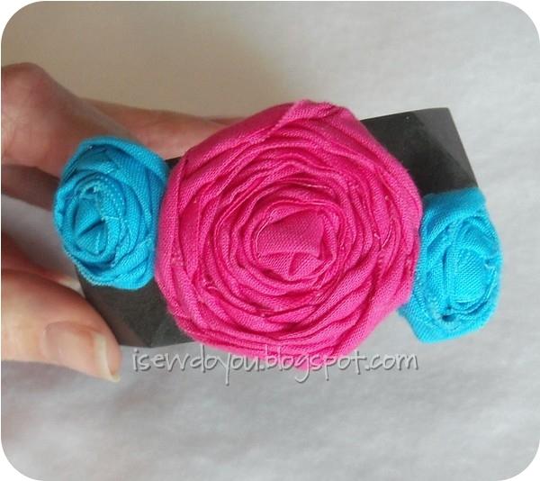 Fabric Flower Bangle Bracelet