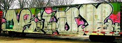 Drive (Whole Car) (mightyquinninwky) Tags: road graffiti drive crossing tag graf tags tagged graff graphiti stamped 07 2007 railroadcrossing buffed wholecar paintedtrain crossingarm warninglights taggedtrain evansvilleindiana nokl taggedboxcar paintedboxcar paintedrailcar taggedrailcar wholecarsformyspacestation trainsformyspacestation