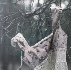 remnants (Rebecca Nathan) Tags: forest outdoors dress deadtree hanging gown twigs