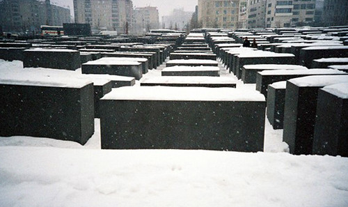the holocaust memorial, snow-covered