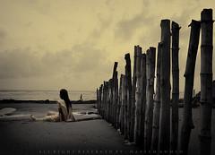 (NaYeeM AhmeD) Tags: sky cloud beach water rock landscape evening artwork sand women wide bamboo 1855mm conceptual lightanddark monocrome darkphoto coxsbazar canon450d concordians wetwomen kolatolibeach womensitted