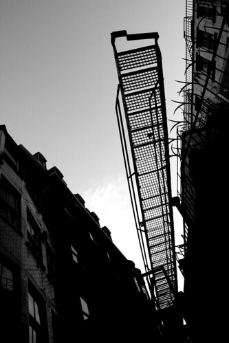 Bow Lane - Fire Escape b&w
