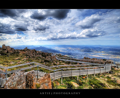 View from the Lookout Building of Mt Wellington, Hobart, Tasmania :: HDR (:: Artie | Photography :: Happy 2016 !) Tags: sky cloud clouds stairs photoshop canon rocks cs2 platform dramatic wideangle stormy lookout mount wellington tasmania handheld hobart 1020mm hdr overview artie mountwellington 3xp sigmalens photomatix tonemapping tonemap 400d rebelxti