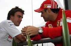 Fernando Alonso e Felipe Massa nel post gara