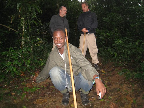 William poses with his walking stick, while Eric (left) and Ben (right) chat.