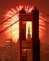 San Francisco Fireworks (Rob Kroenert) Tags: show sanfrancisco california ca city bridge red usa night golden gate san francisco long exposure downtown pyramid display fireworks marin kaboom goldengatebridge frame headlands transamerica 2009 marinheadlands transamericapyramid kfog