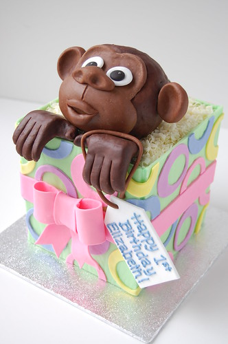 Monkey in Gift Box Birthday cake